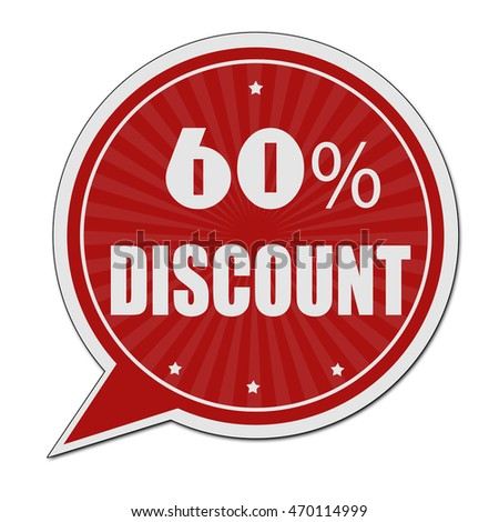 60% discount red speech bubble label or sign on white background