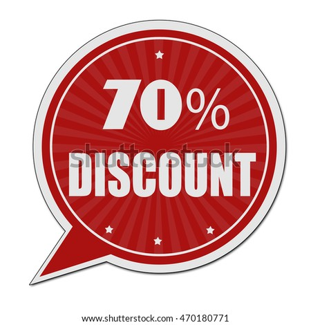 70% discount red speech bubble label or sign on white background
