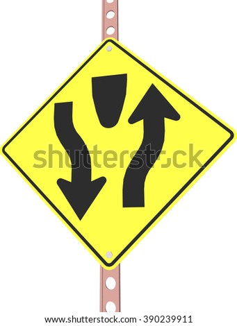 """""""Divided highway"""" - 3d illustration of yellow roadsign isolated on white background - stock vector"""