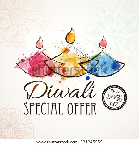 Diwali SALE, Diwali Special offer background. HAPPY DIWALI Card with stylized oil lamps. Vector illustration - stock vector