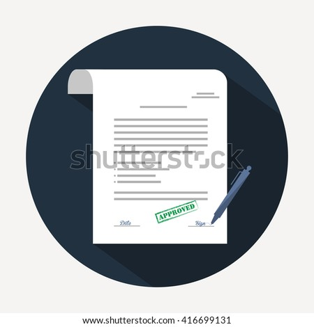 Document icon. Agreement (contract) in flat style with long shadow - stock vector