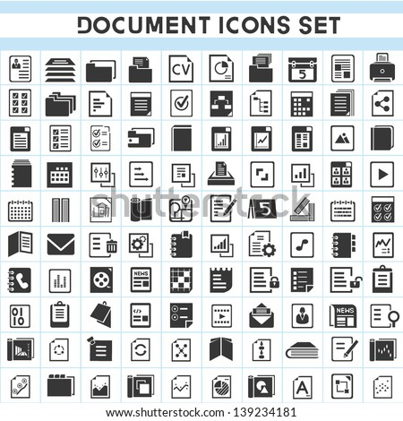 100 document icons set - stock vector