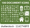 100 document icons set, vector - stock photo
