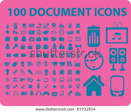 100 document icons, signs, vector illustrations - stock vector