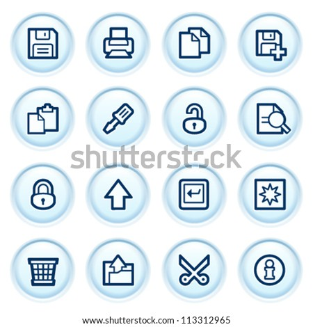 Document web icons on blue buttons. Set 1. - stock vector