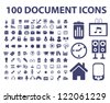 100 document, web office icons set, vector - stock photo