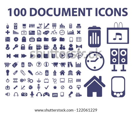 100 document, web office icons set, vector - stock vector