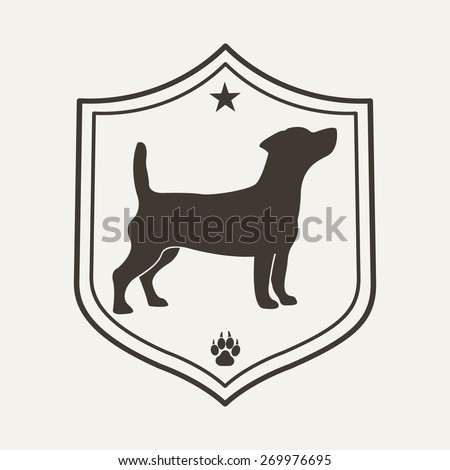 Dog pet logo. Vet clinic logo design template. Vector illustration. - stock vector