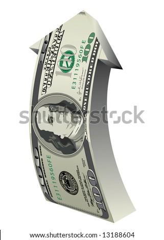 100 Dollar Arrow - stock vector