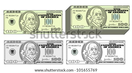 100 dollar bil styled design - stock vector