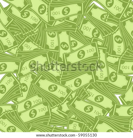 100 dollar bills pattern, seamless background - stock vector