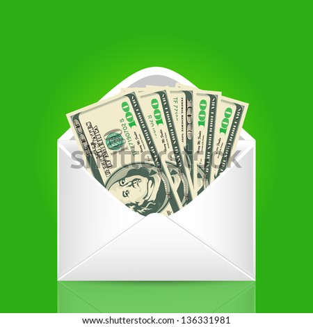500 dollars in the envelope. Vector business illustration - stock vector