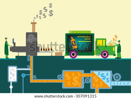 Dollars Symbols Flowing from Processing Machines in a Drink Factory Site Flat Style Clip Art - stock vector