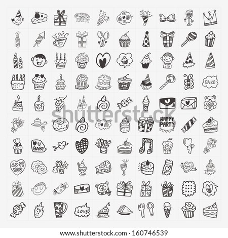 100 Doodle Birthday party icons set - stock vector