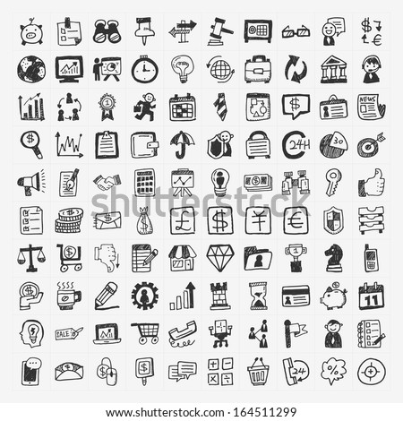 100 doodle business icon - stock vector