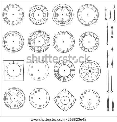 doodle clock, simple hand drawn vector illustration - stock vector