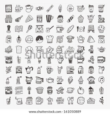 100 doodle coffee element icons set - stock vector