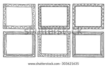 6 doodle frames on a white background vector illustration - stock vector