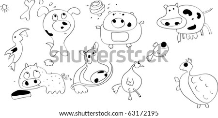 doodle funny animals set