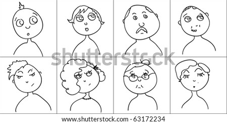doodle funny faces set - stock vector