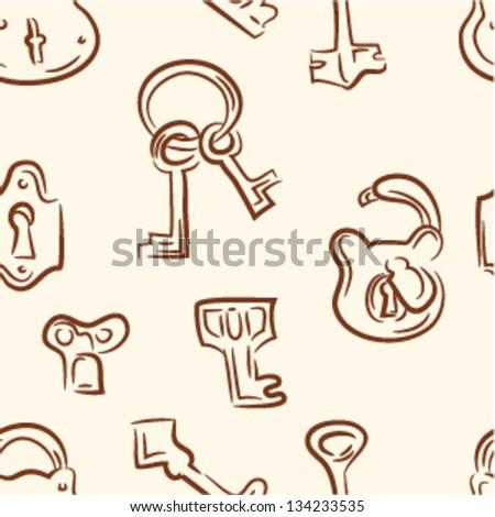doodle keys .Seamless pattern - stock vector