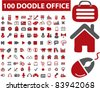 100 doodle office icons, signs, vector illustration - stock