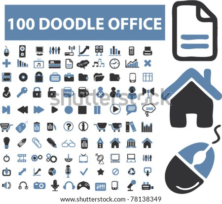 100 doodle office icons, signs, vector illustrations