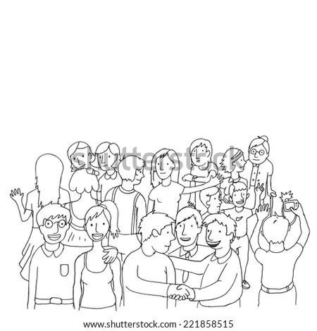 doodle peoples - stock vector