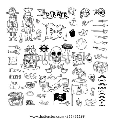 doodle pirate elememts, vector illustration. - stock vector