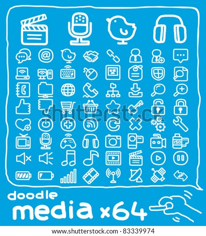 64 doodle series | media,internet,communication icon set - stock vector