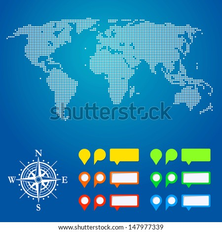 Dotted World map and map pin - stock vector