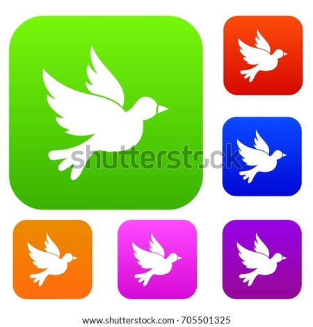 Dove set icon in different colors isolated vector illustration. Premium collection