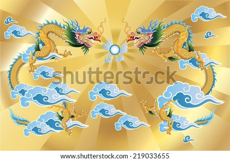 2 dragons and crystal ball on gold background. vector. - stock vector