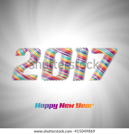 2017 drawn from the color stripe, on white - stock vector
