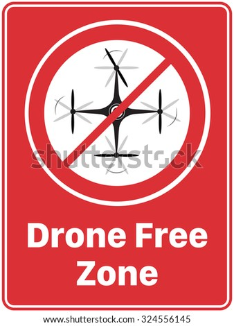 'Drone Free Zone' Poster - stock vector