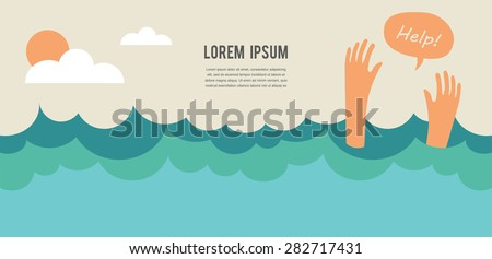 drowning man screaming for help. summer danger - stock vector