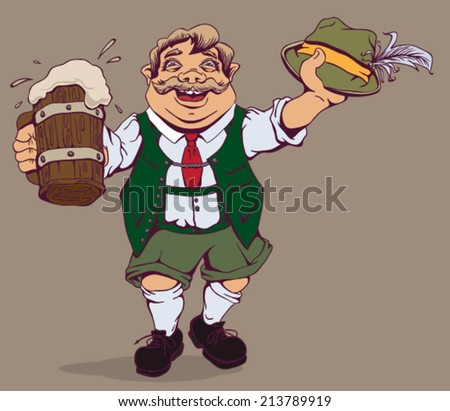 Drunk fat German with beer. Vector cartoon illustration - stock vector