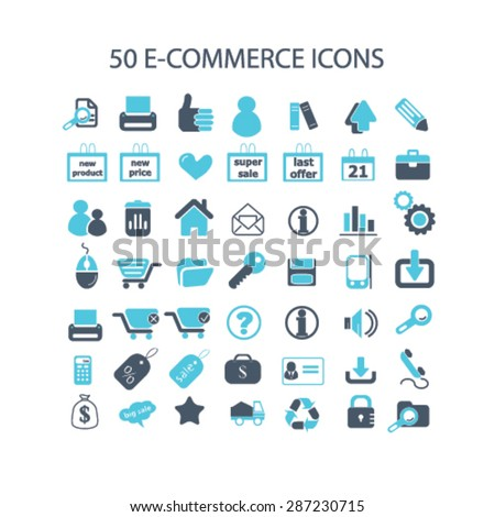 50 e-commerce, retail icons, signs, illustrations set, vector - stock vector