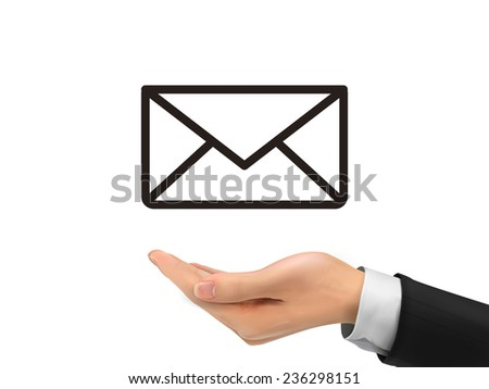 e-mail icon holding by realistic hand over white background - stock vector
