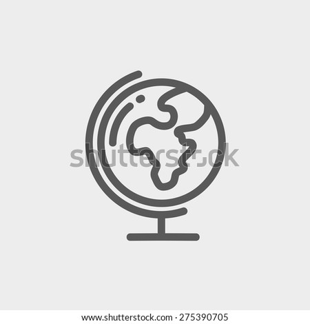 Earth globe icon. Thin line globe with stand icon isolated on background. Vector globe icon for web and mobile, modern minimalistic flat design. - stock vector