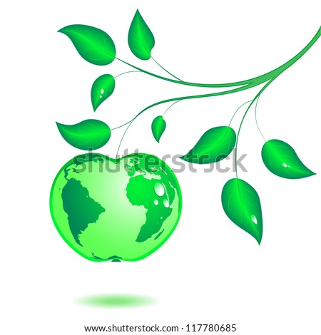 Earth in the form of green apple hangs on a branch with leaves. Vector. eps 8 - stock vector
