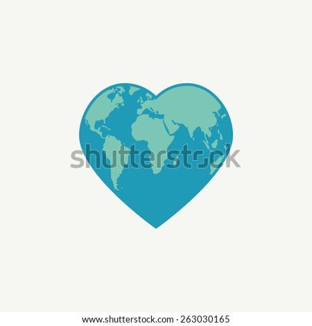 Earth symbol. Globe in the shape of heart. Vector illustration.  - stock vector