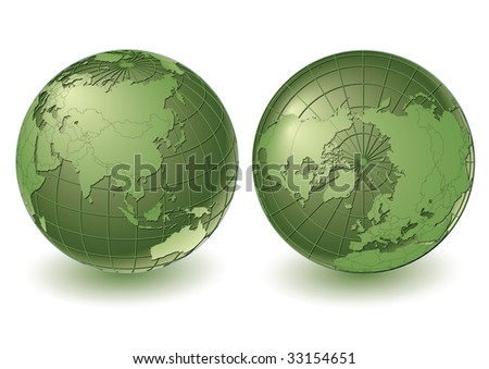 2 earth views with country borders. Highly detailed. Vector version with separate layers for globe, grid, continents and borders, fully editable. - stock vector