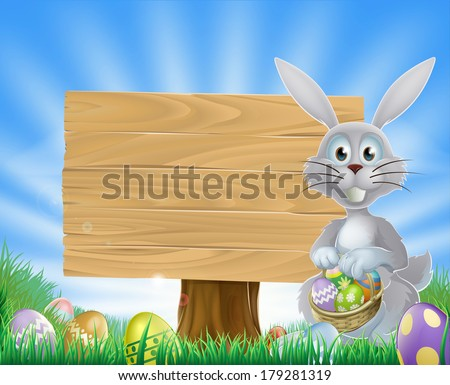 Easter bunny rabbit holding Easter eggs in a basket and a wooden sign  - stock vector