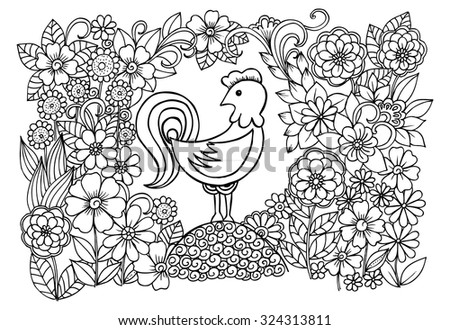 Easter doodle drawing of flowers and bird - stock vector
