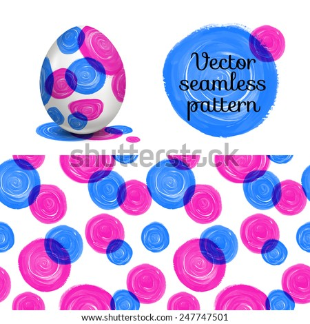 Easter egg. Watercolor paints. Happy Easter. Vector object. 3D. Realistic Easter eggs. Seamless Vector Pattern. - stock vector