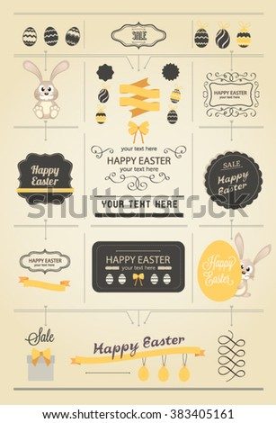 Easter elements. Vector Easter Bunny and eggs - stock vector