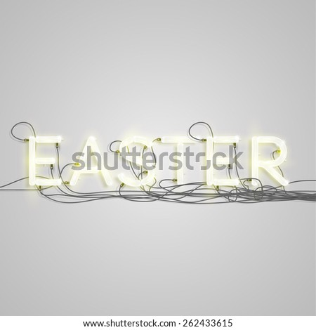 'EASTER' made by neon font, vector - stock vector