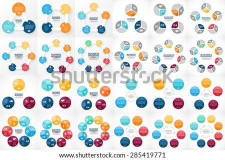24 easy editable vector circle arrows infographics. Templates set for cycle diagram, graph, presentation and round chart. Business concepts bundle for 3, 4, 5, 6, 7, 8 options, parts, steps, processes - stock vector