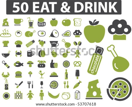 50 eat & drink signs. vector